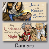 Original Art, outdoor banners, Holidays, Christmas, Jesus, Santa, Halloween