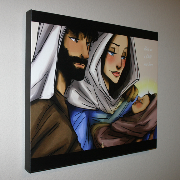 Inspirational Wall Decor, Wall Art on Canvas, Baby Jesus, Mary, Joseph