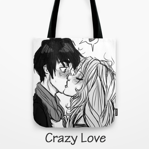 Crazy Love Tote Bag, Original Art by Megan / Barby Ink, BarbyInk.com