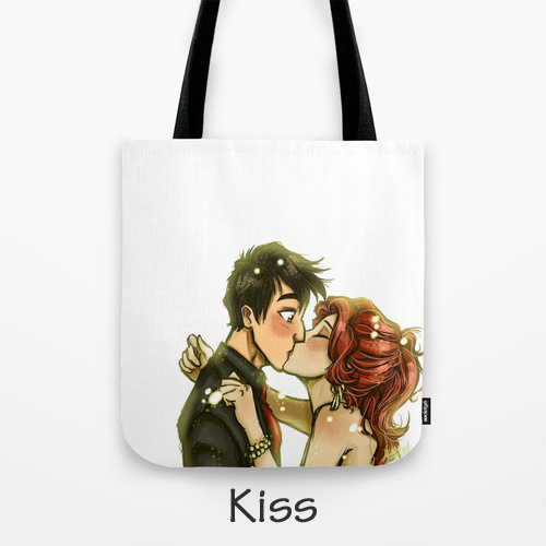 Kiss - Tote Bag wth Original Artwork by Megan Barby, BarbyInk.com