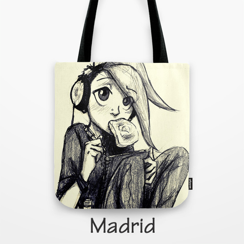 Tote Bag, Original Art, BarbyInk.com, Madrid, Book Character, Artwork on Purse
