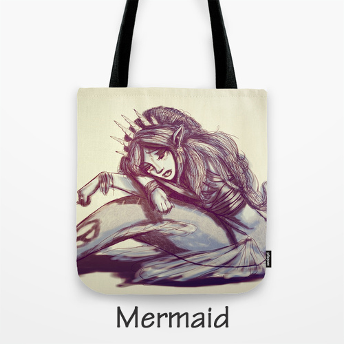 Tote Bag, Purse, Original Artwok, BarbyInk, BarbyInk.com, Megan Barby, Mermaid