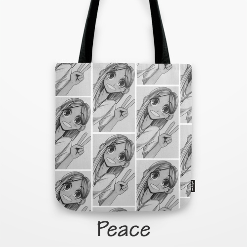 Tote Bag, Original Artwork by Megan, BarbyInk.com, Peace Girl, Black & White Art