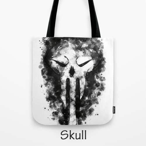 Skull, Original Art, Tote Bag, Skull Artwork, Carry Bag, Guys Tote, Unisex Purse