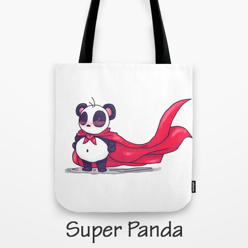 Super Hero Panda Artwork on Original Art Tote Bag, Barby Ink, BarbyInk.com, Purs
